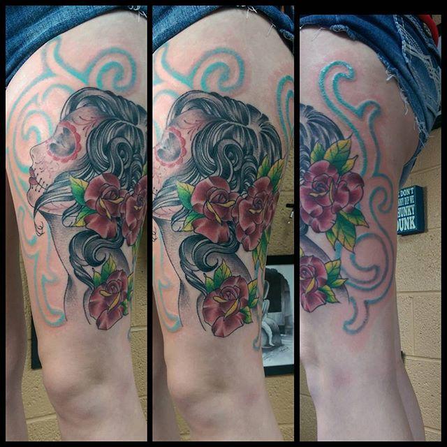 "Day of the Dead Face Tattoo by Joseph ""Goofy"" Hullings - Aloha Salt Lake Tattoos"