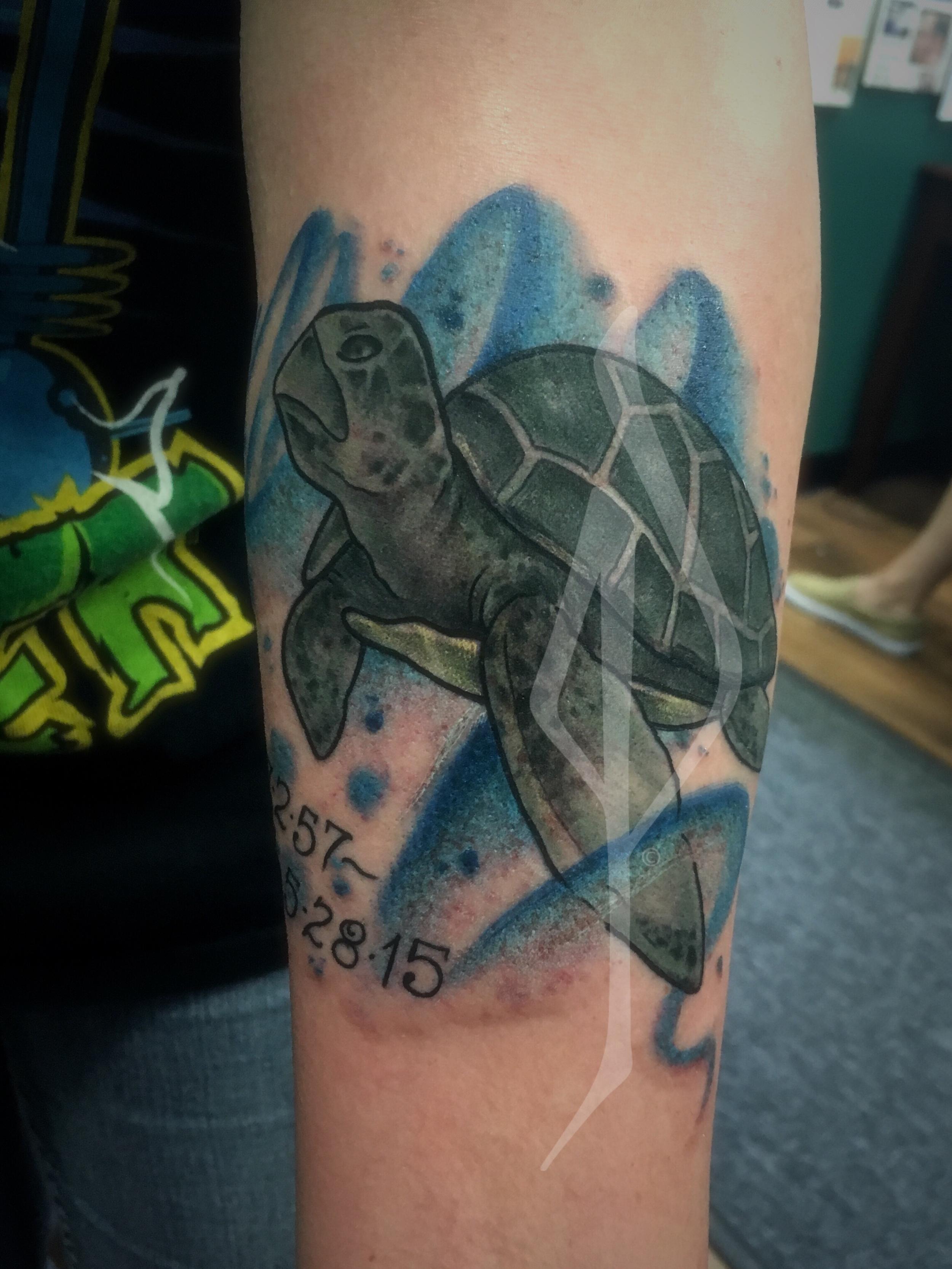 Turtle Tattoo by Jon Poulson - Aloha Salt Lake Tattoos