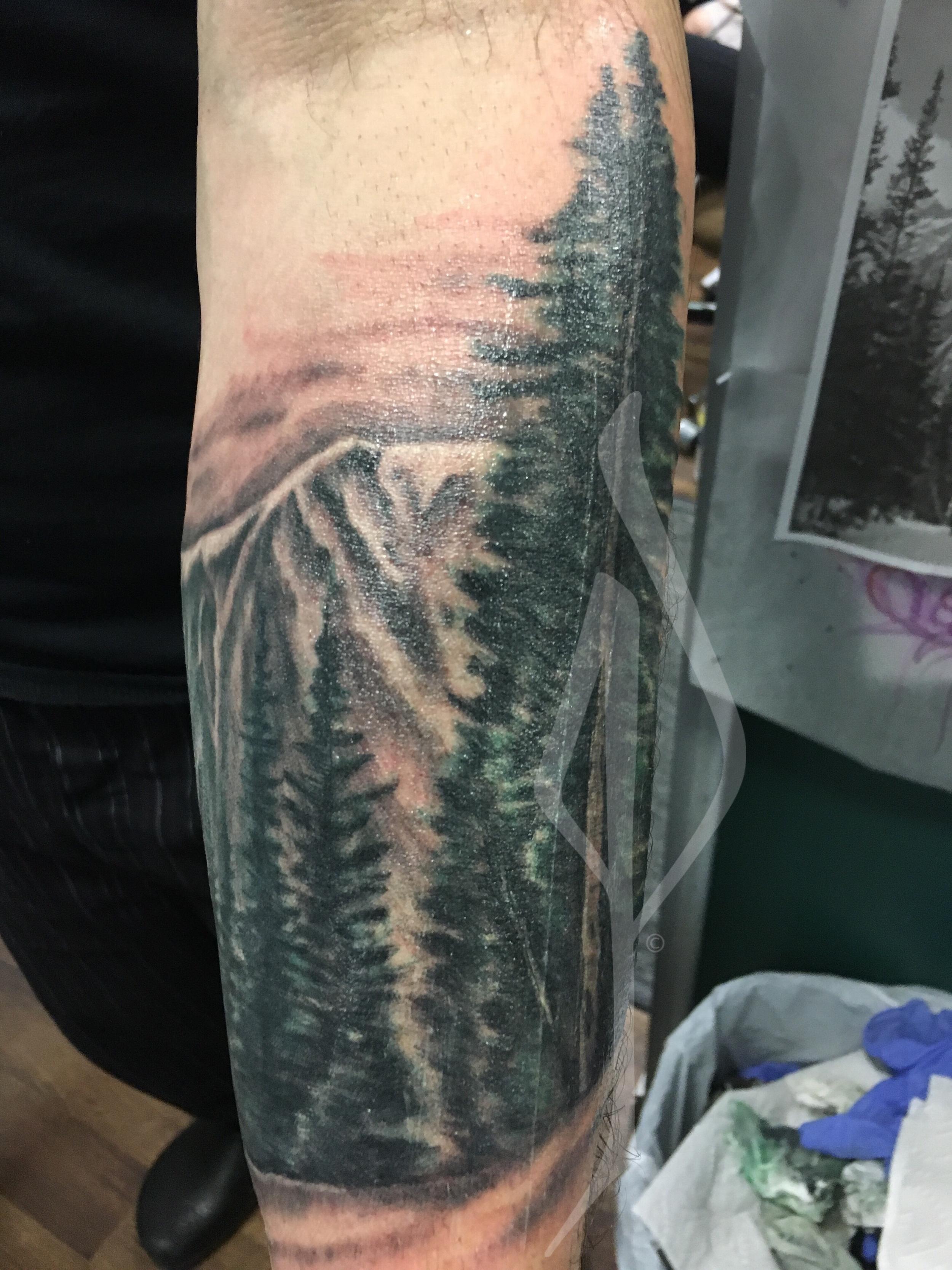 Mountain Scene Tattoo by Jon Poulson - Aloha Salt Lake Tattoos