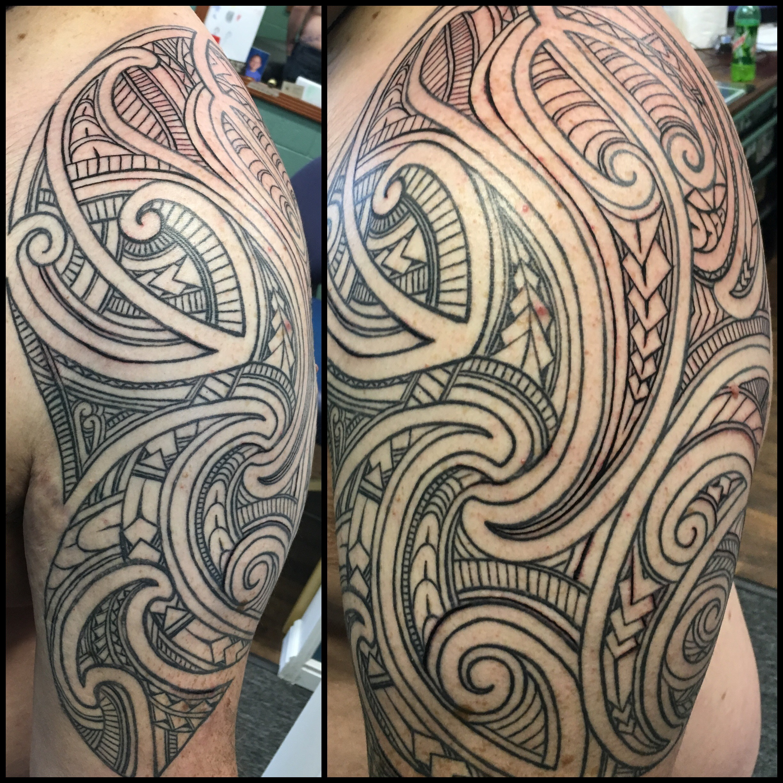 Freehand Polynesian Maori Tribal Tattoo by Jon Poulson - Aloha Salt Lake Tattoos