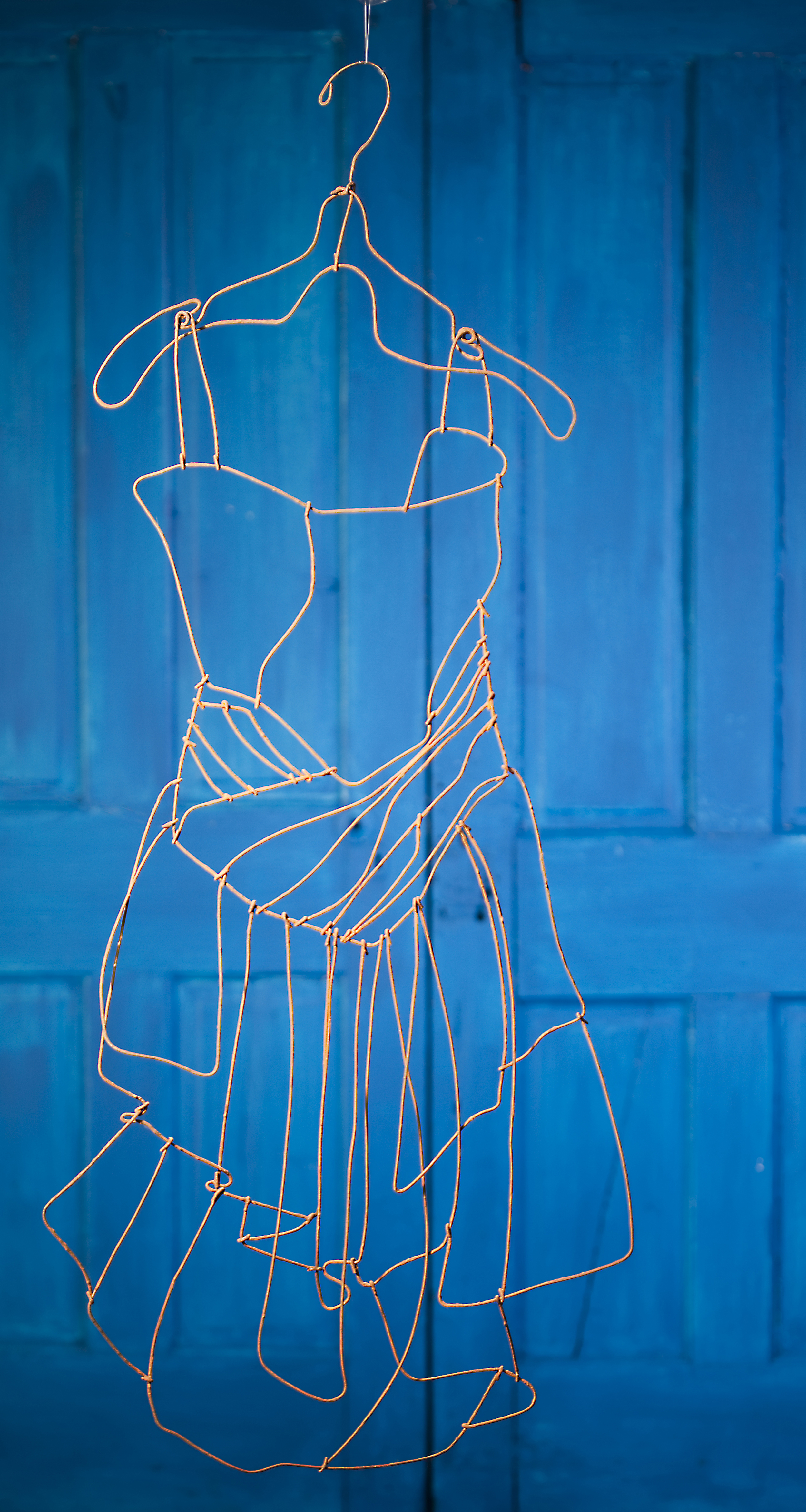 Party dress, baling wire, rusted