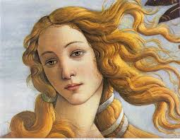 The  Birth of Venus is an iconic image and a cliché; but it is also a work of utter mastery. Rather than attempt pure photorealism, Botticelli chooses an almost cartoon-like style of sharp outlines filled in by washes of colour. Today we would call the deliberately crude rendering of the trees, shoreline, and water some form of Rousseauian Primitivism. Botticelli clearly has the skill to work just a realistically as he desires; I conclude that his primitivism is deliberate. Botticelli understands that by simplifying away the level of the smallest and least essential details what is left has all the more visual power. Simplification or no, not only are the outlines gorgeous but the colour washes are divine. Look at how limid and luminous are the colours in Venus' skin. (Yet for all that Botticelli manages to get Venus' left nipple in the wrong place, which suggests along with the sloping shoulders that she was drawn from imagination, not life.)  The story line is simple: we have Modesty attempting to cover the new-born nakedness of Beauty, while the god Zephyr (perhaps with a reconciled Chloris in tow?) attempts to prevent this tragedy from coming to pass.