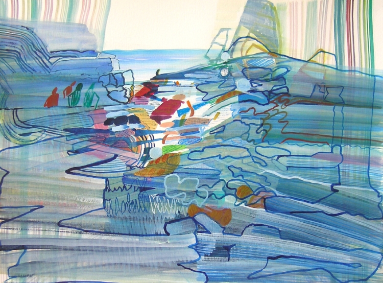 Cascade Sea , 2017, Watercolor on Paper, Josette Urso