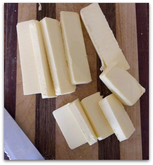 Cut butter for the butter pack.