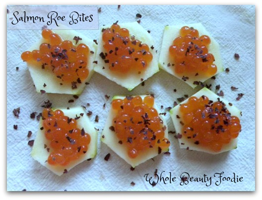 Salmon Roe Bites topped with Dulse Flakes