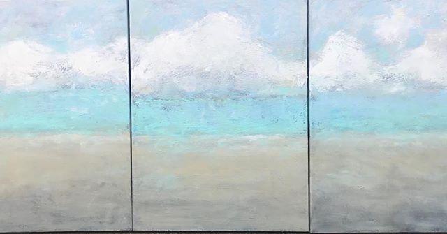 New beach tryptic oil on canvas #beach #interiordesign #hapmtonhomes #beachart