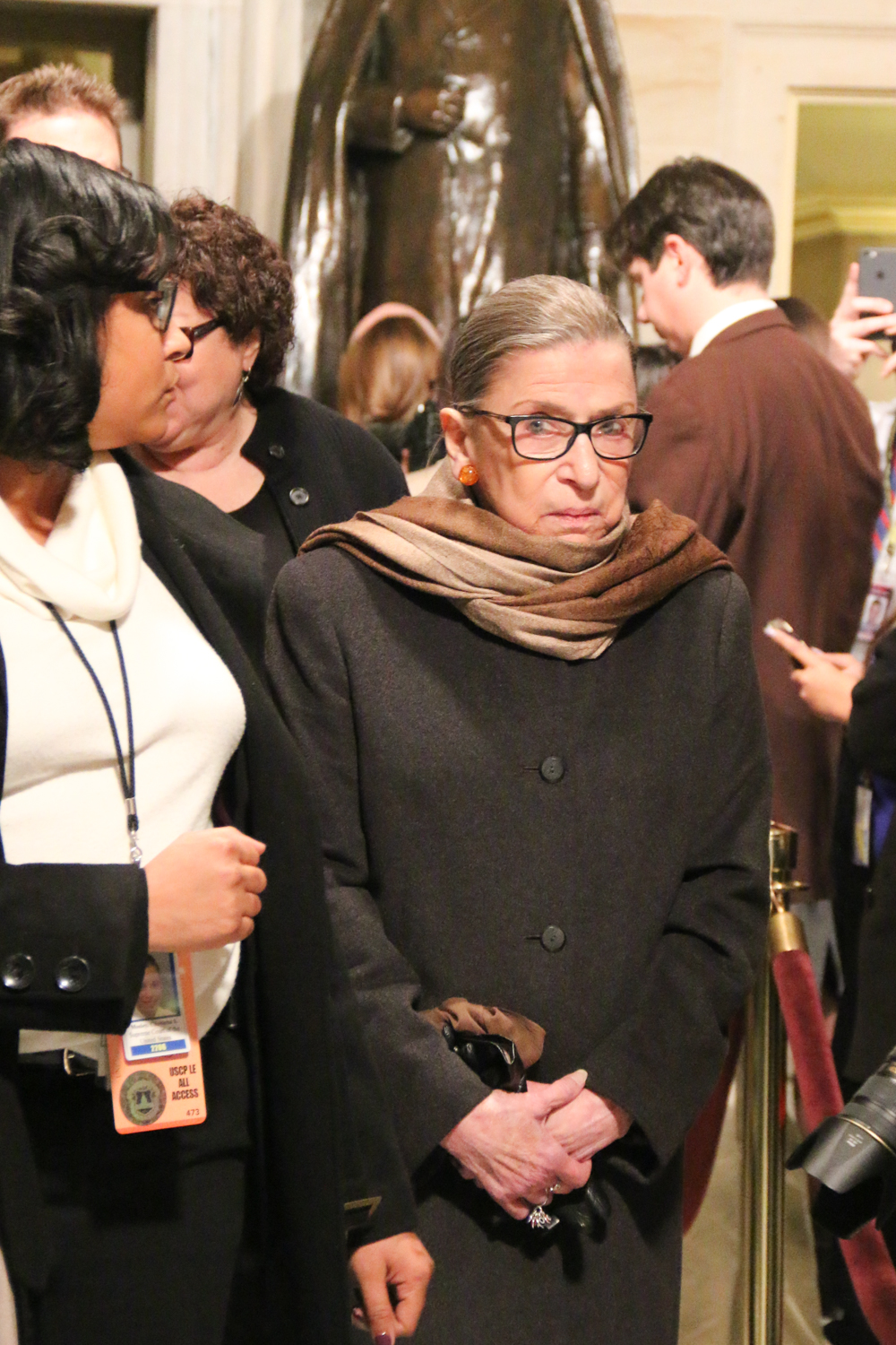 Supreme Court Justice Ruth Bader Ginsburg walks through Statuary Hall en route to the chamber.