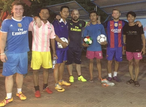 Team with soccer players