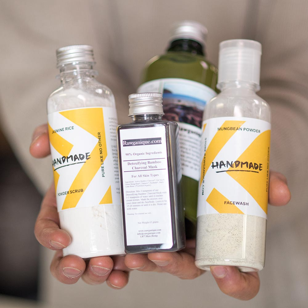 Organic Jasmine Rice Powder Scrub, Detoxifying Bamboo Charcoal Mask, Kaffir Lime Shampoo, and Mungbean Powder Facewash by Rawganique