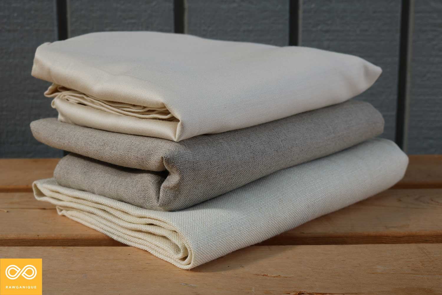 Organic sateen cotton (top), organic linen (middle), and organic hemp (bottom) sheets.