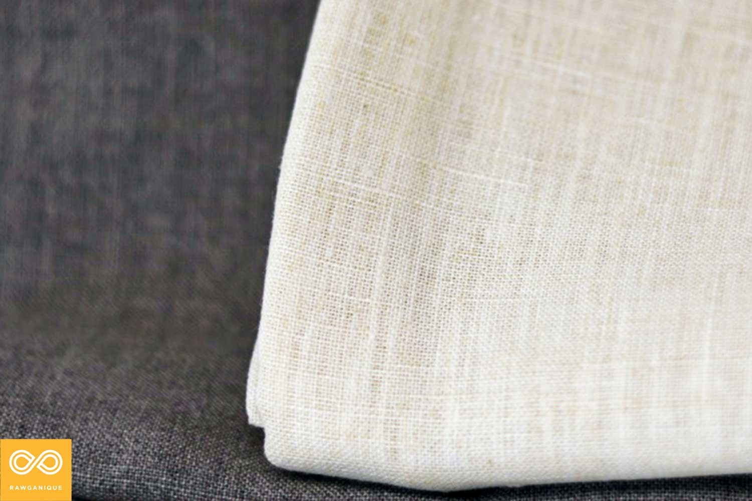 Natural (unbleached, undyed) organic linen (left) and organic hemp (right) fabric.