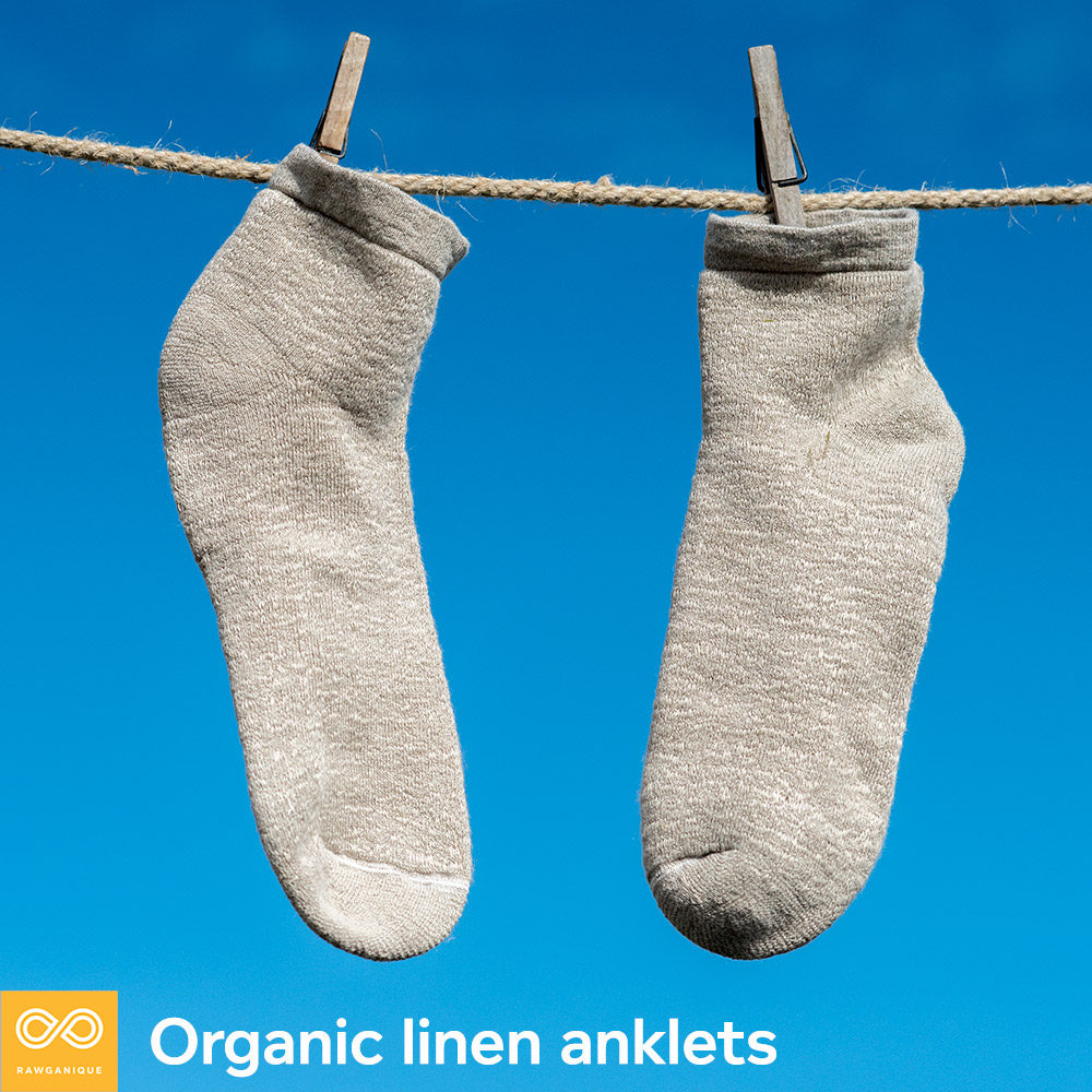 Cheshire 100% organic linen terry anklet socks