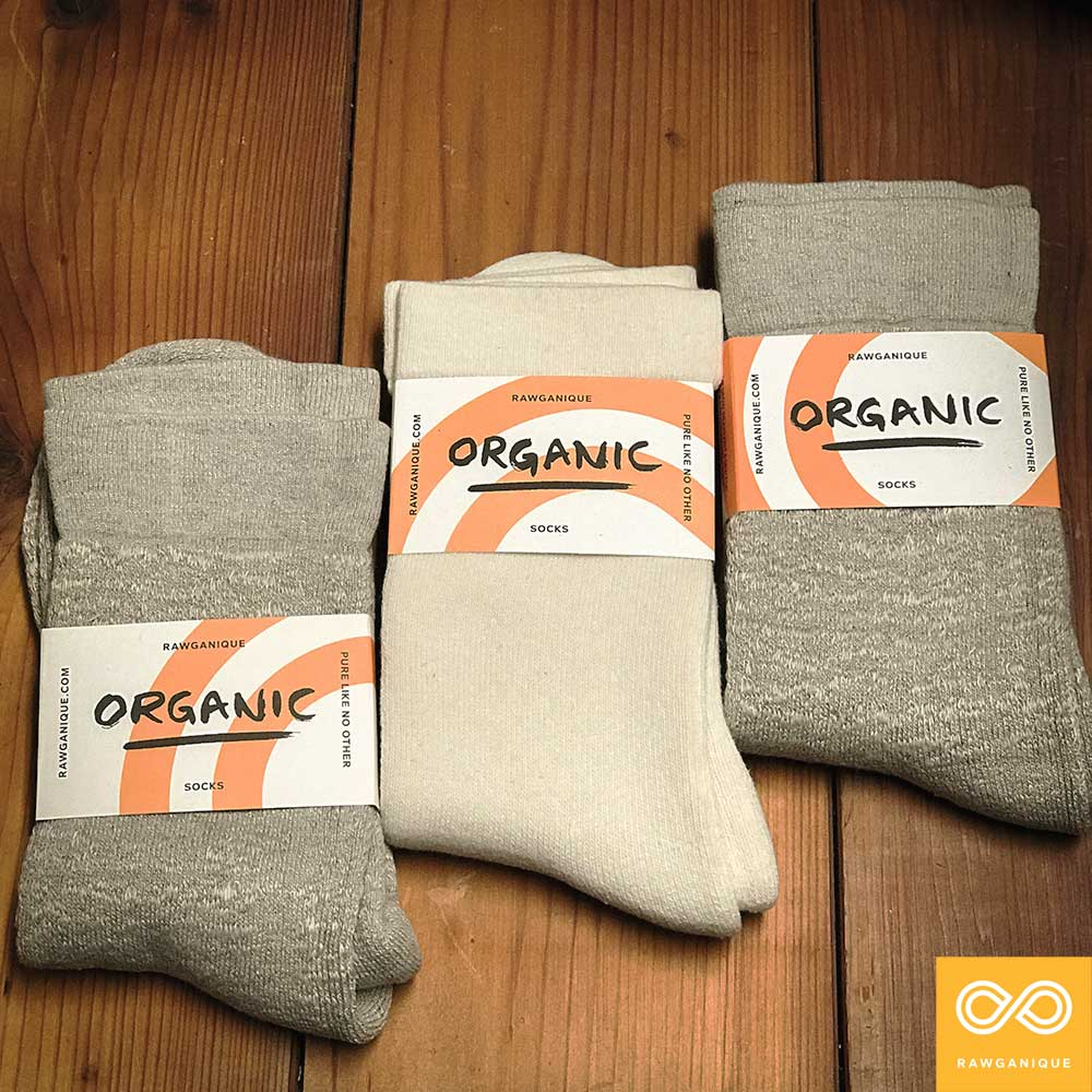 Elastic-free Dvorak 100% organic hemp socks, Schubert organic cotton socks, and Schumann organic linen socks.