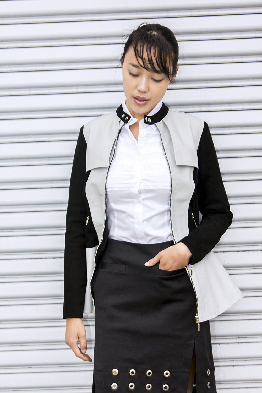 The  Cyrus  leather jacket,  Nadine  shirt, and  Avery  skirt.