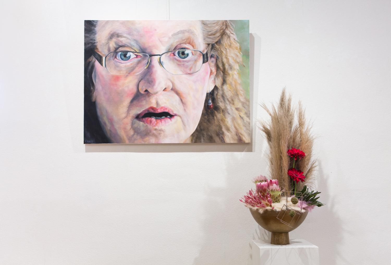 Fine Artist:  The Tone of Disbelief,  Jacqueline Faass      Floral Artist: Beth Hohensee, Studio Flora Diva