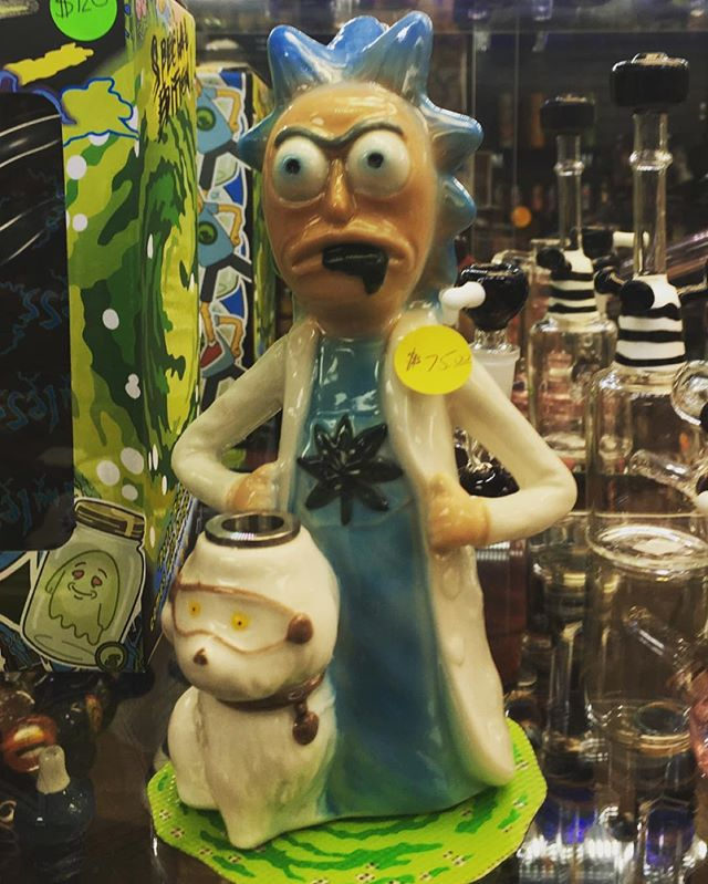 Ceramic Rick water pipe available in store or online DM FOR INFO only $75.00 @euphoriabellmore #rickandmorty #420 #ceramicpipe #tokers #smokingtime #isit420yet #cbd #thc