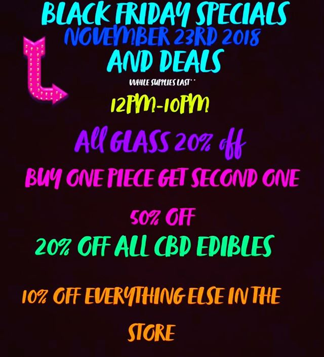 Come down for BLACK FRIDAY deals all day and night @euphoriabellmore #blackfriday2018 #dealsfordays #glassforsale #psychedelic #trippy #headshop #420 #710 #cbd #tapestry #giftshop #stealz