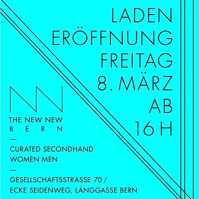 Hola 💙 We're opening our curated secondhand shop on Friday 8th of March! Come celebrate with us, we have beer and snacks!🍺😊 Looking forward to see you, Vanessa, Marina, Mariko, Michèle, Lucy, Manuel und Grégoire. @thenewnew_bern #thenewnewbern