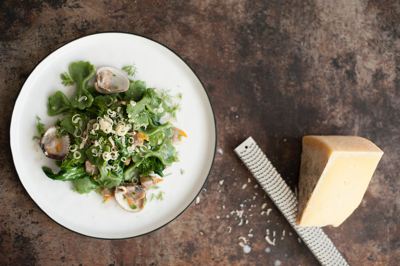 Quay Commons Wild Ramsons Pasta Bow-Ties with Cockles and Clams   Photo credit: Agnieszka Biniecka