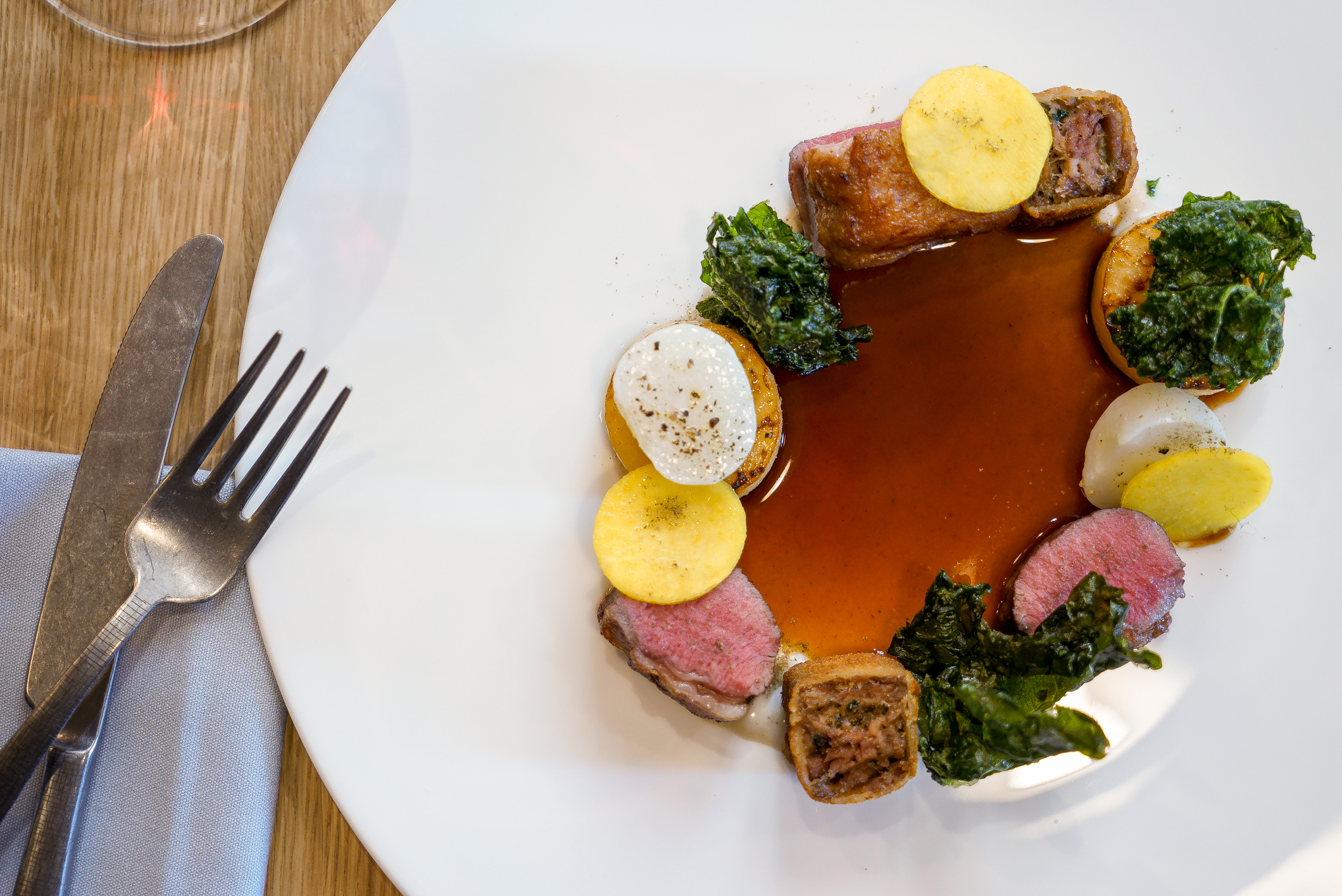 BORDERS LAMB SADDLE - Turnips, ''lambchetta'',Bagna Cauda, Walnuts & Kale