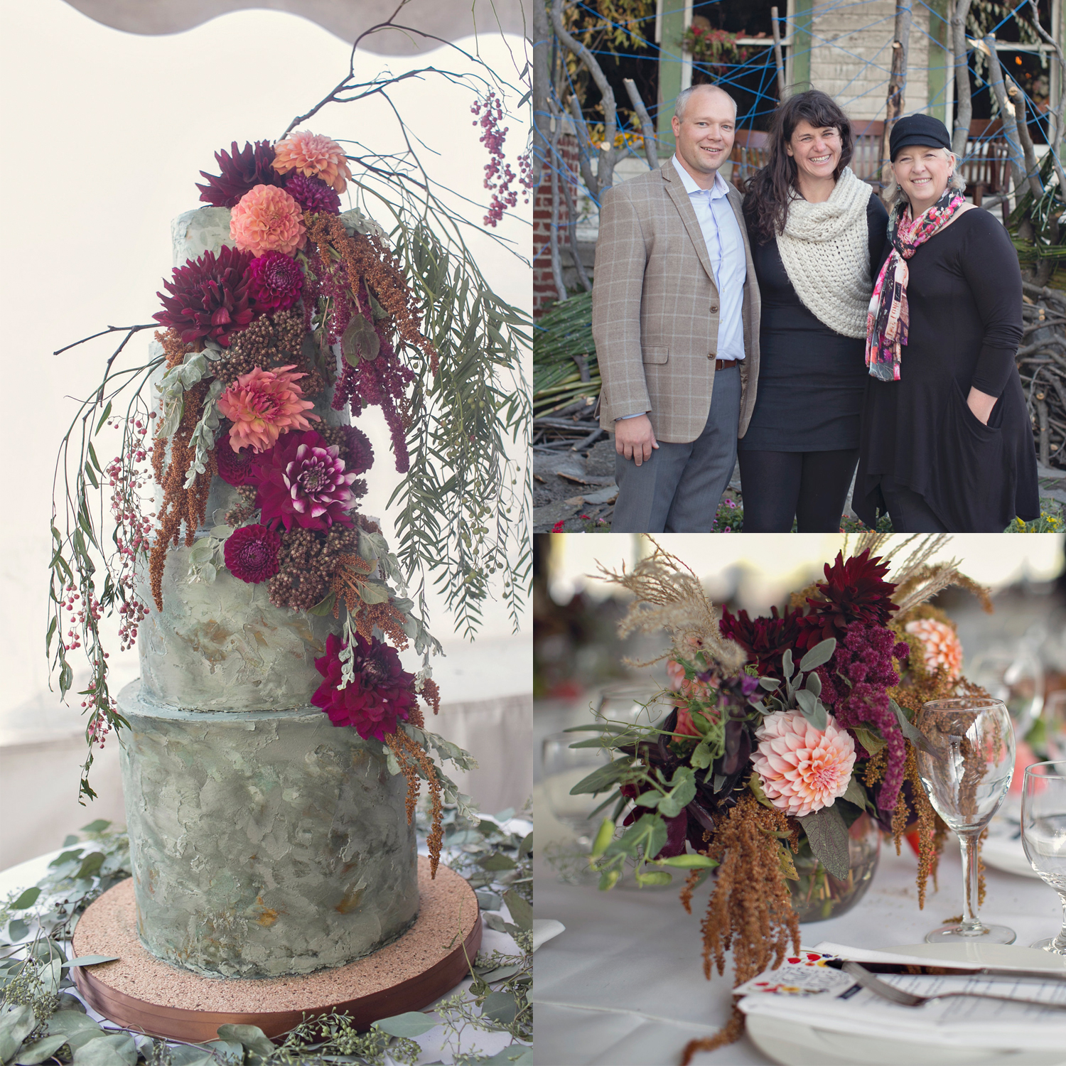 Images from the 2015  Field to Vase  Dinner in Detroit at  Flower House . Pictured (left to right)  Kasey Cronquist ,  Lisa Waud , and  Debra Prinzing