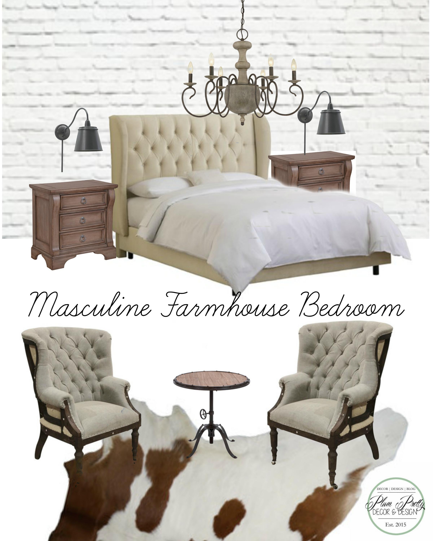 Plum Pretty Decor Design Co Masculine Farmhouse Bedroom Design Challenge