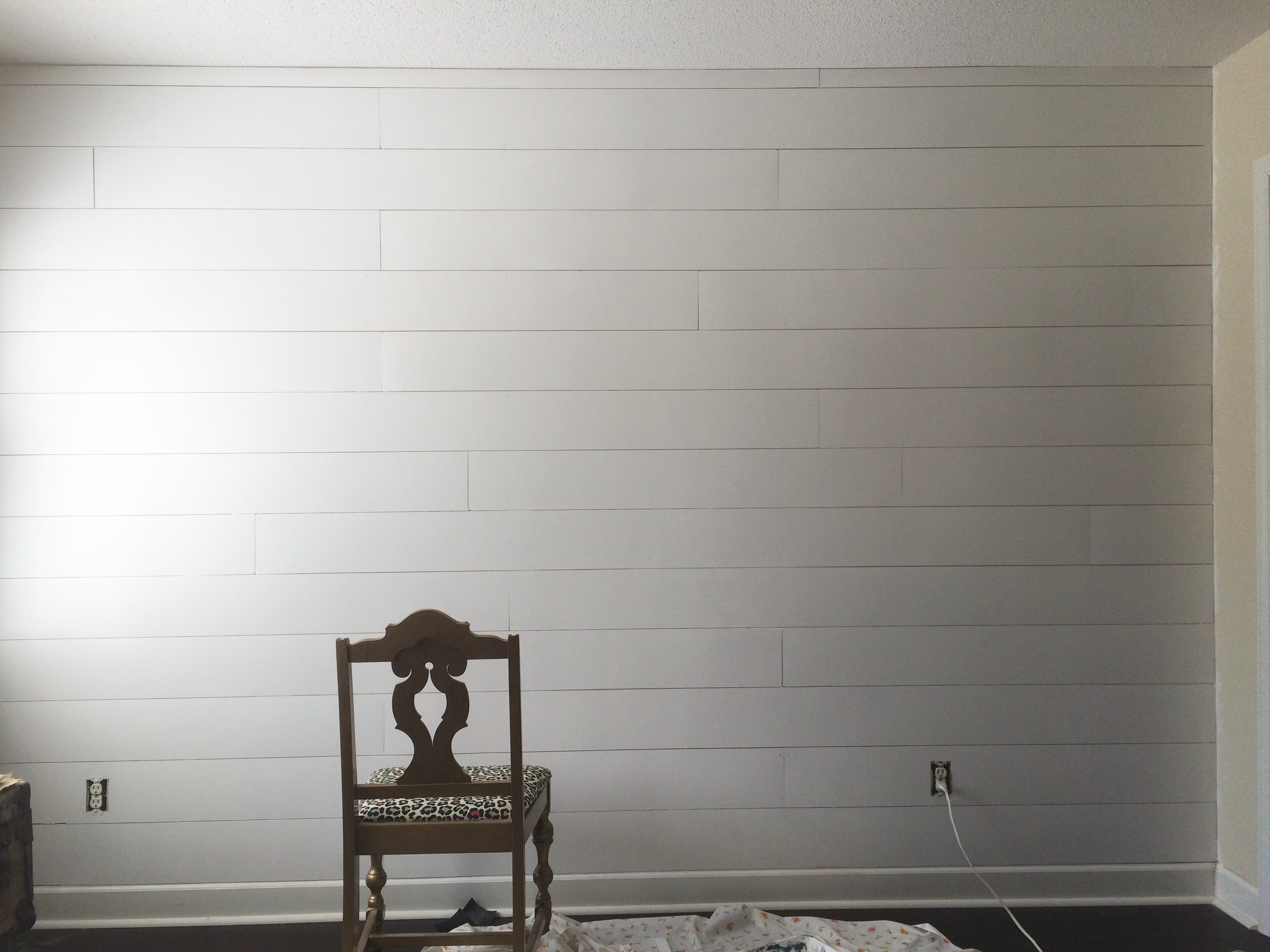 Faux Shiplap Painted White Fixer Upper Style