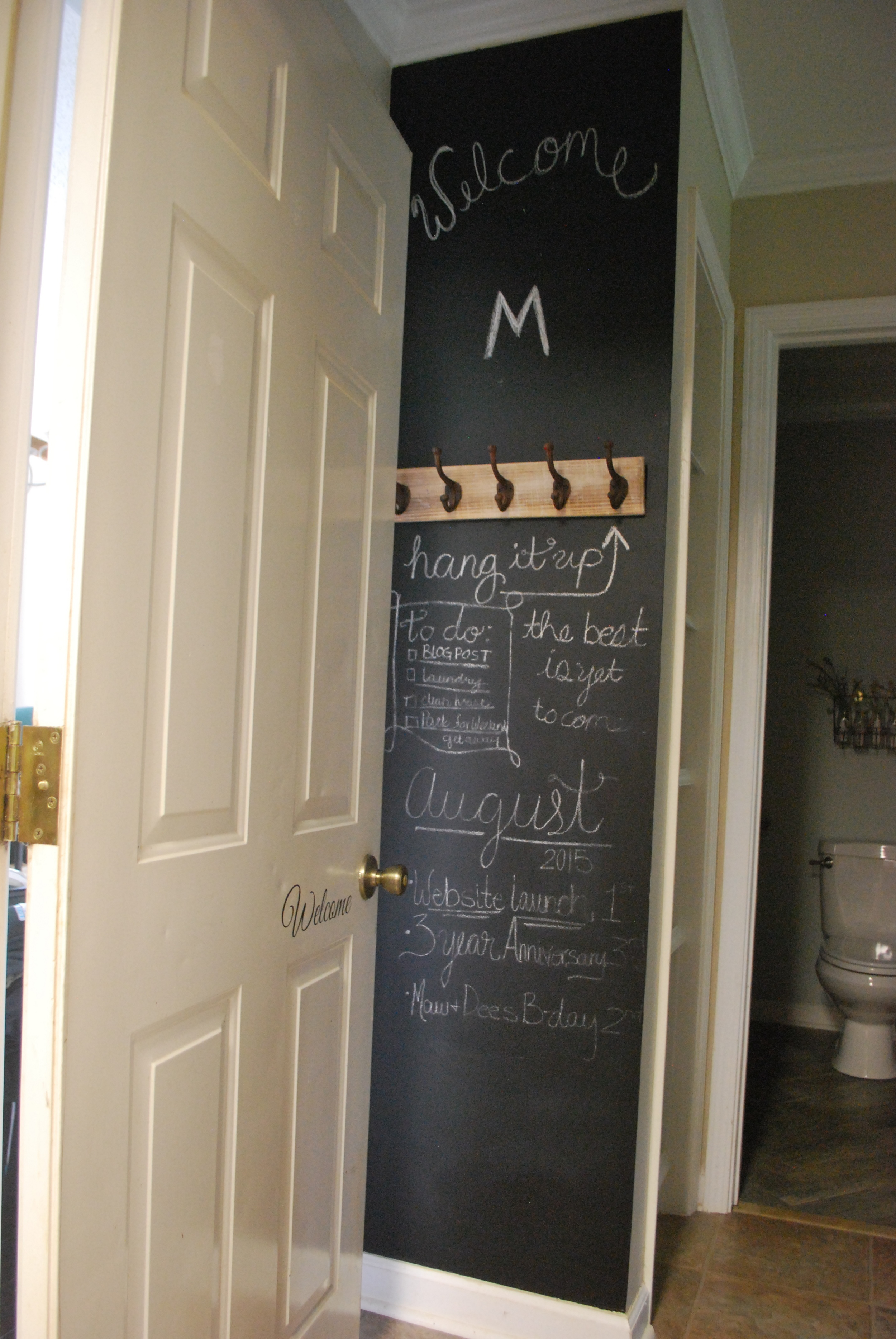 Garage Entry Before with Chalk Paint Wall