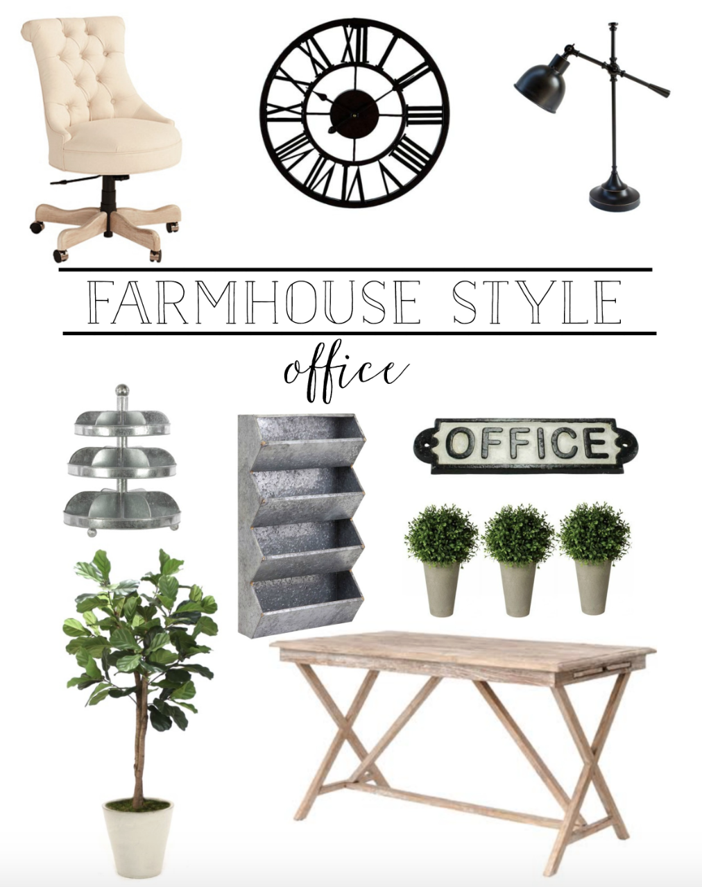 Farmhouse Style Office Style Board- Plum Pretty Decor and Design