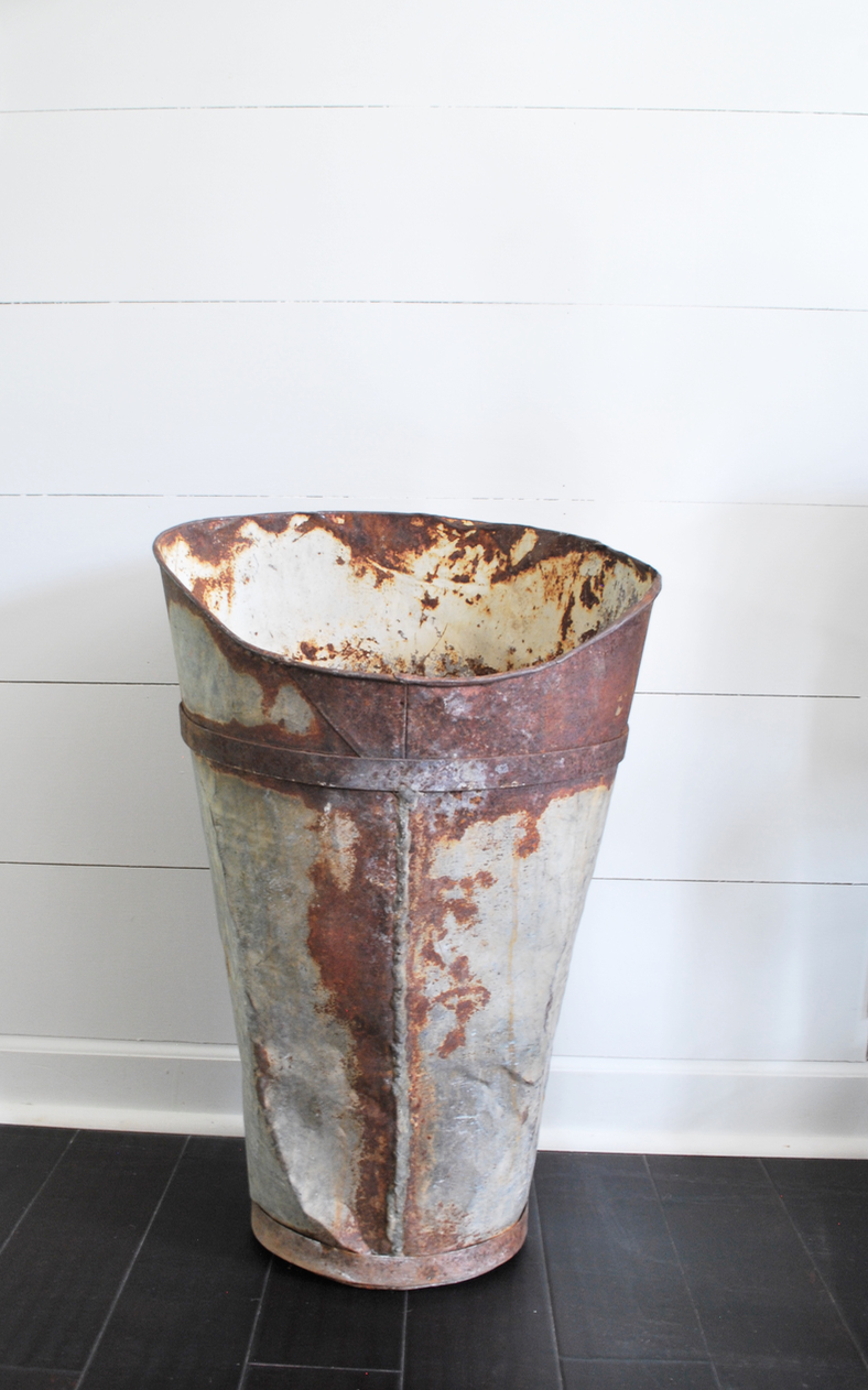 Farmhouse Metal, Chippy, Rusty Container- Now a Piece of Decor
