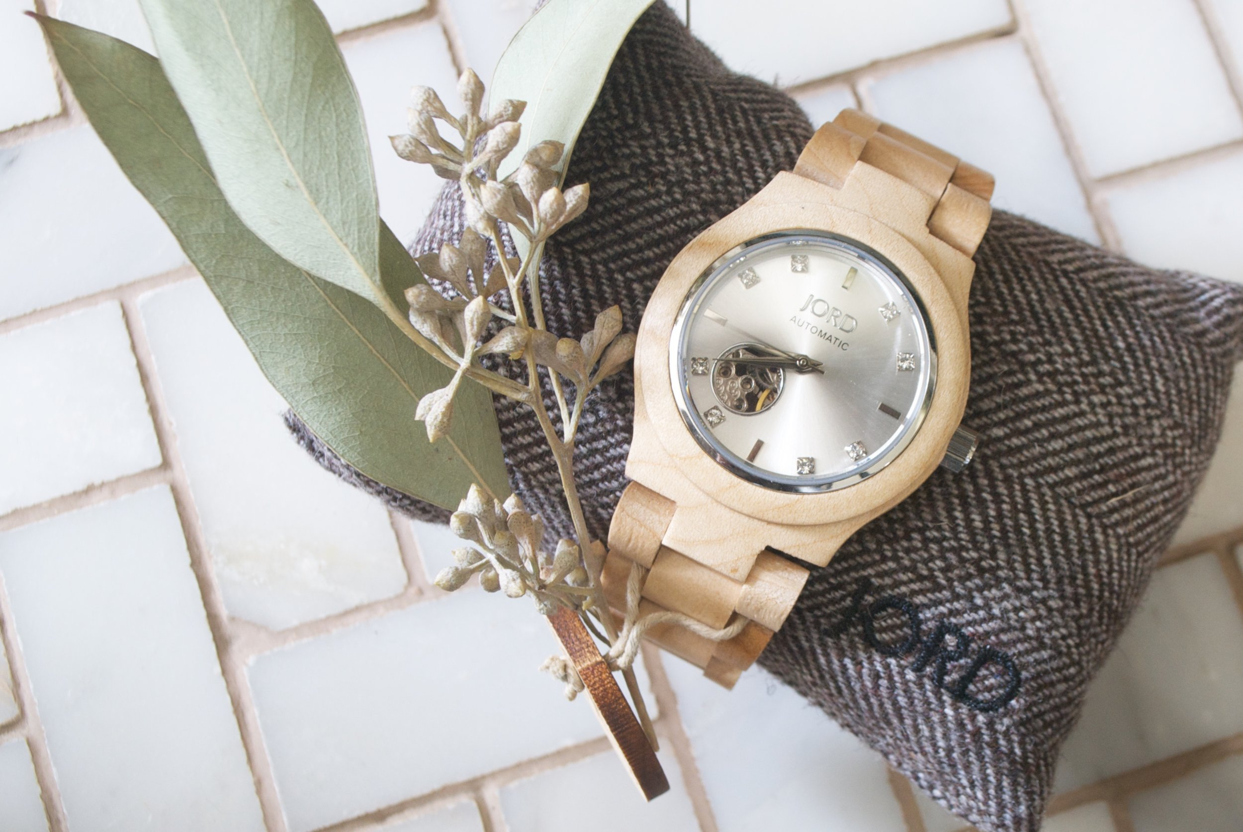 Jord Watch- Interior Designer Styled- Wooden Watch- Herringbone Carrara Marble