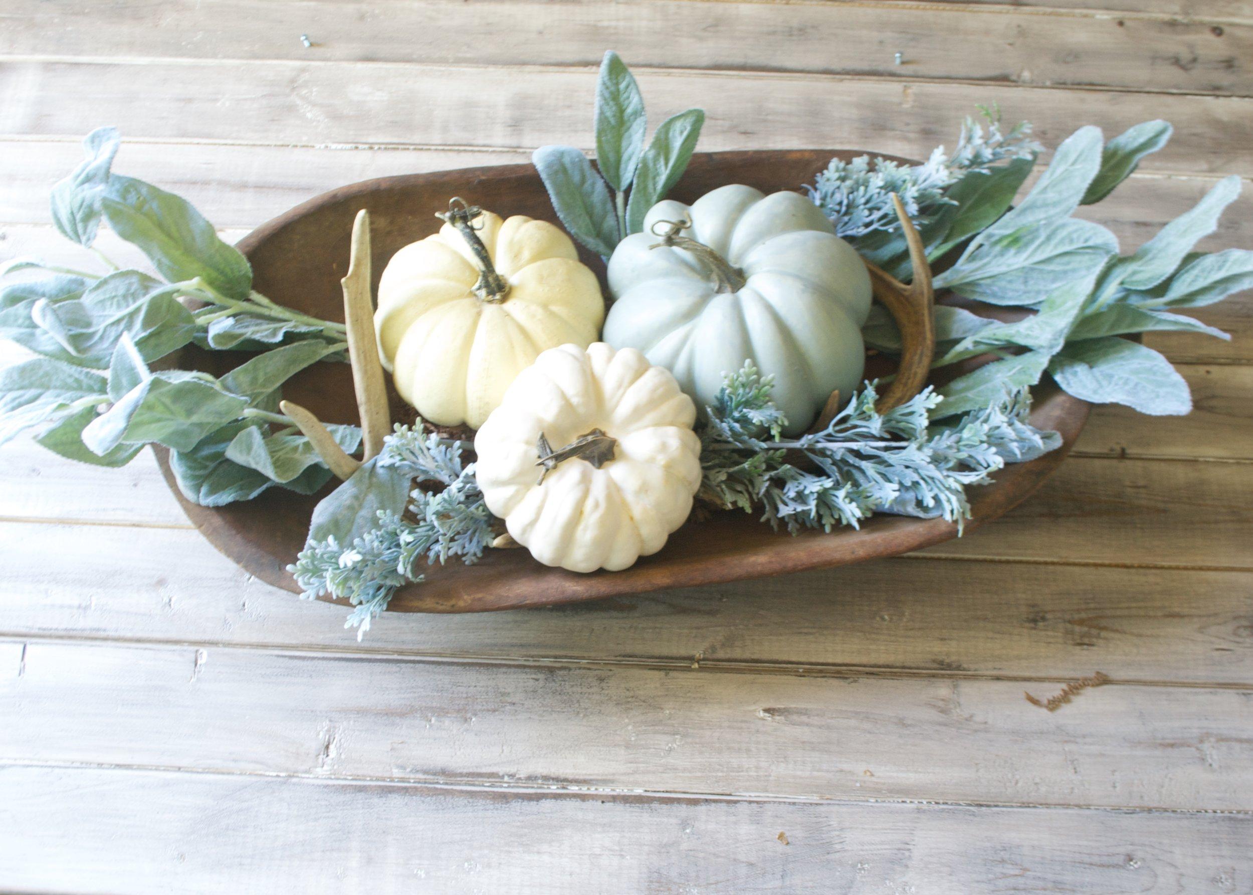 Neutral Fall Decor- Centerpiece in Dough Bowl