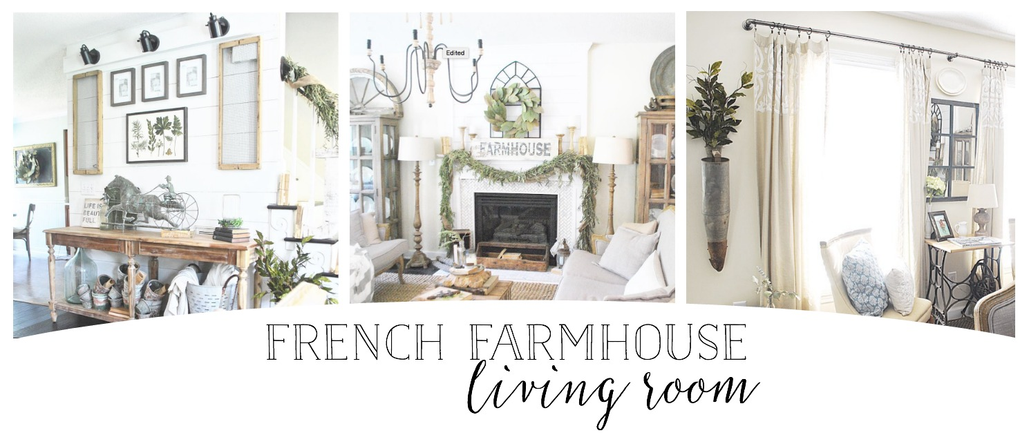 French Farmhouse Inspired Living Room by Plum Pretty Decor and Design.