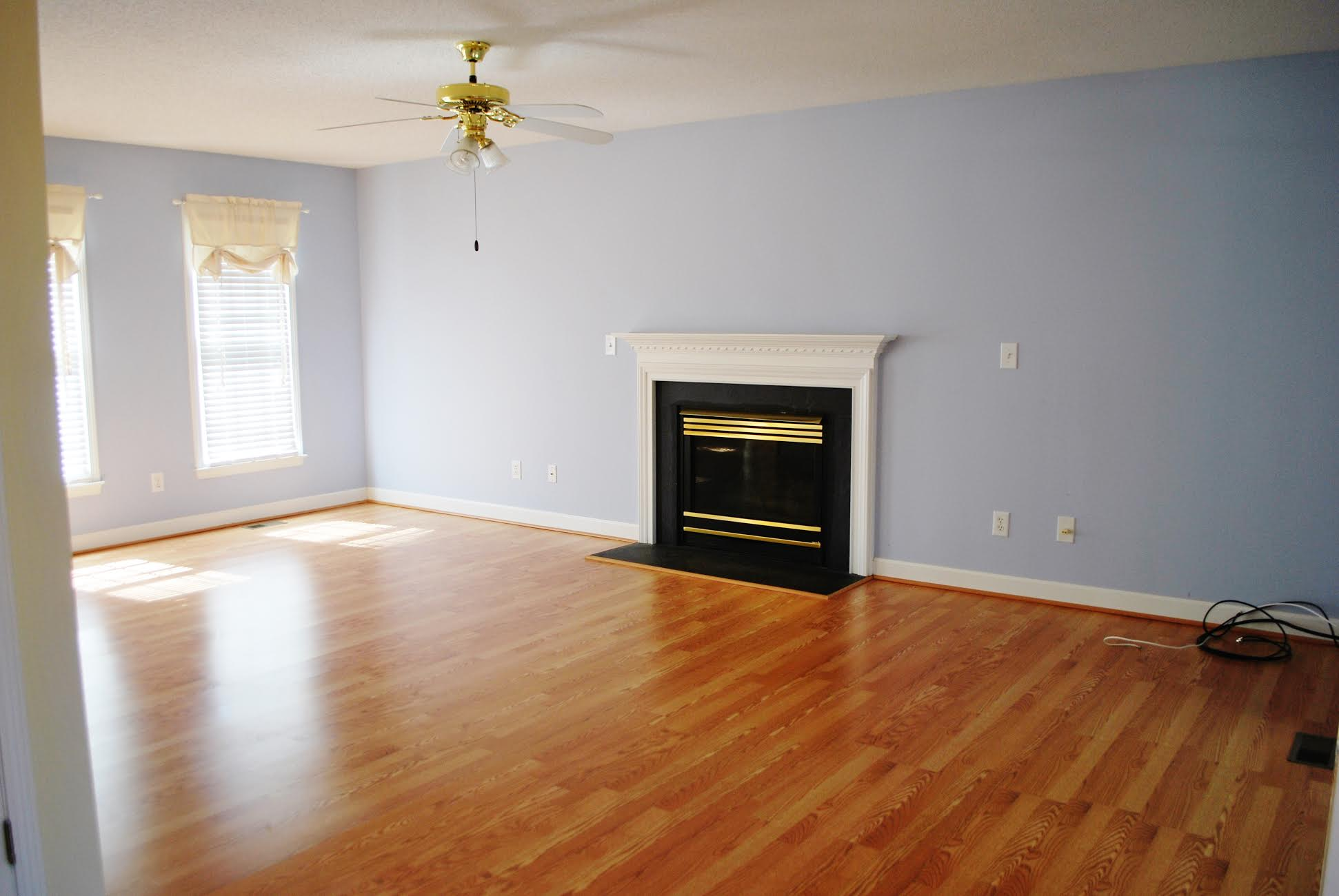 This was our living room the day we moved in- Periwinkle walls and all!