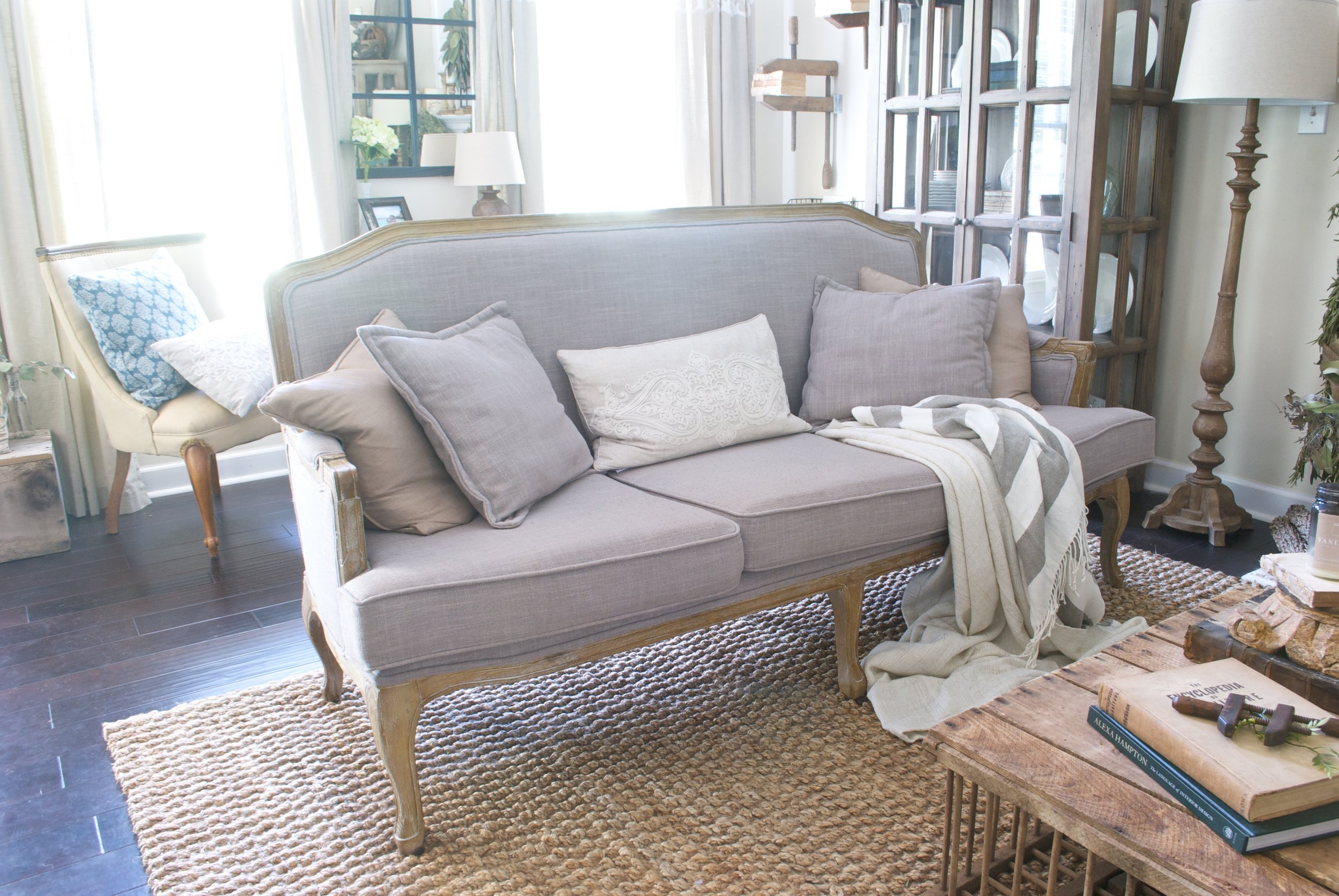 French Farmhouse Style Sofa- Plum Pretty Decor and Design