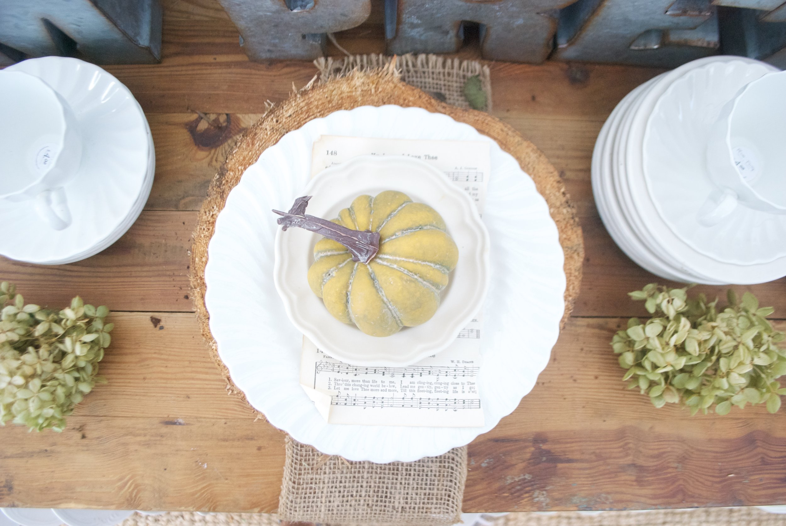 Plum Pretty Decor and Design- The Gray Door Market- Fall Table Setting with Pumpkin