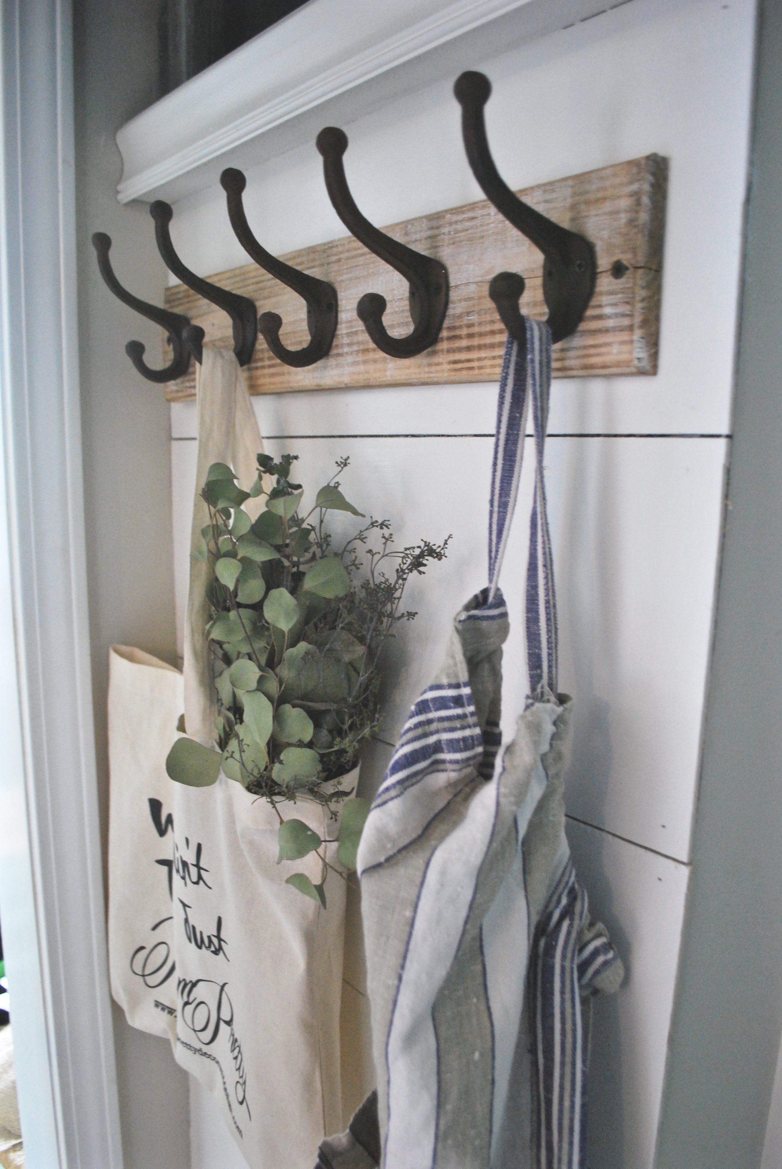 Shiplap Entry Way by Plum Pretty Decor and Design- Metal Hooks