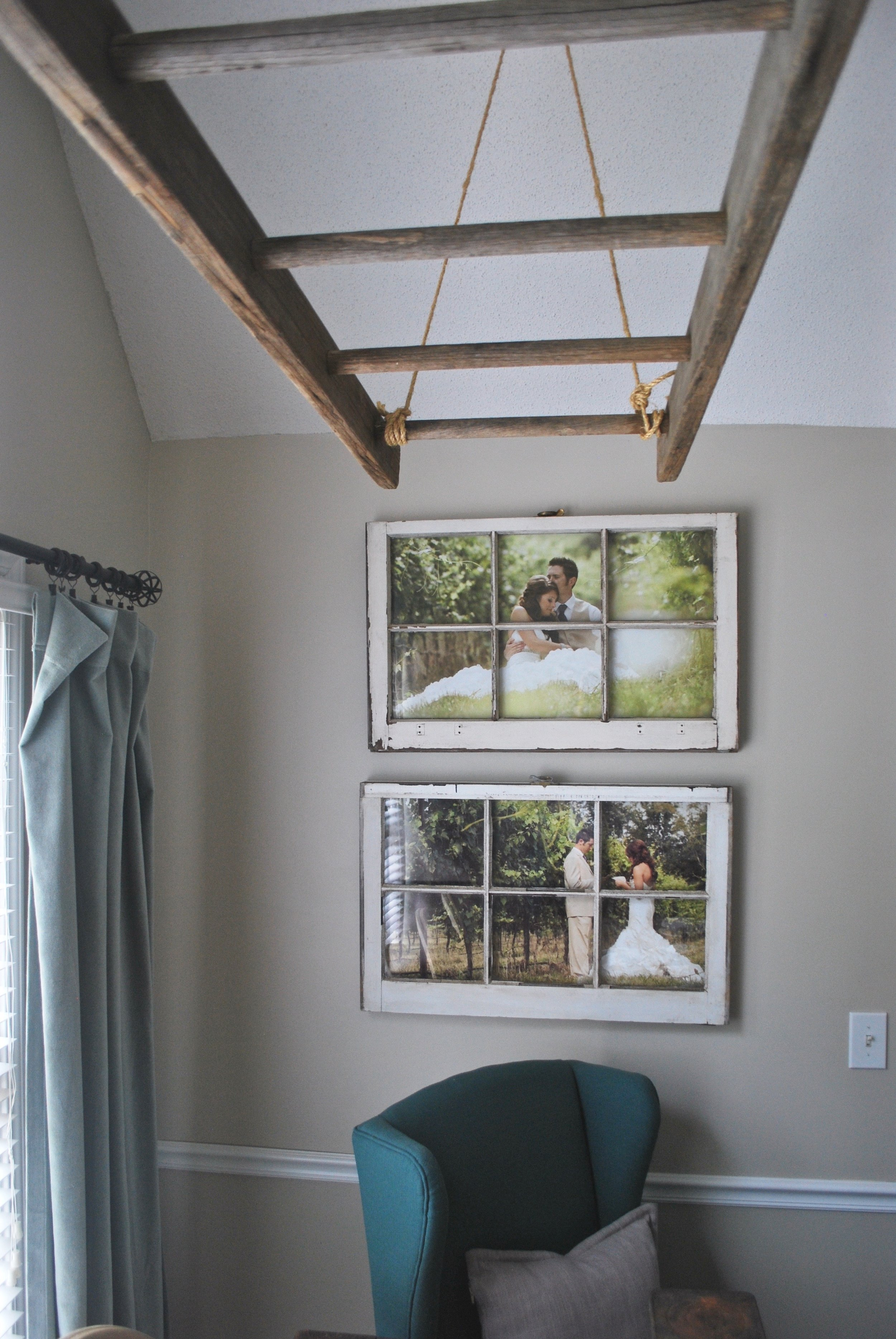 Ladder Above Dining Table and Old Framed Pictures by Plum Pretty Decor and Design