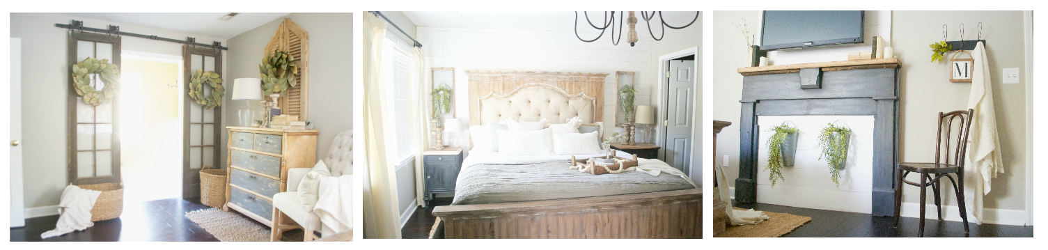 Plum Pretty Decor and Design's Farmhouse Style Master Bedroom Tour. Shiplap wall, faux fireplace, linen tufted bed, french doors on barn door hardware, and lots of farmhouse charm.