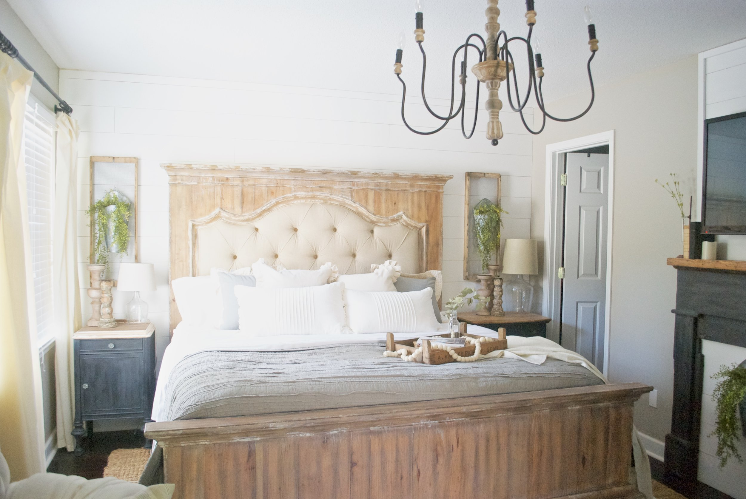 Plum Pretty Decor and Design Master Bedroom Tour- Farmhouse Inspired Bedroom, Shiplap Accent Wall, Tufted Linen Bed.
