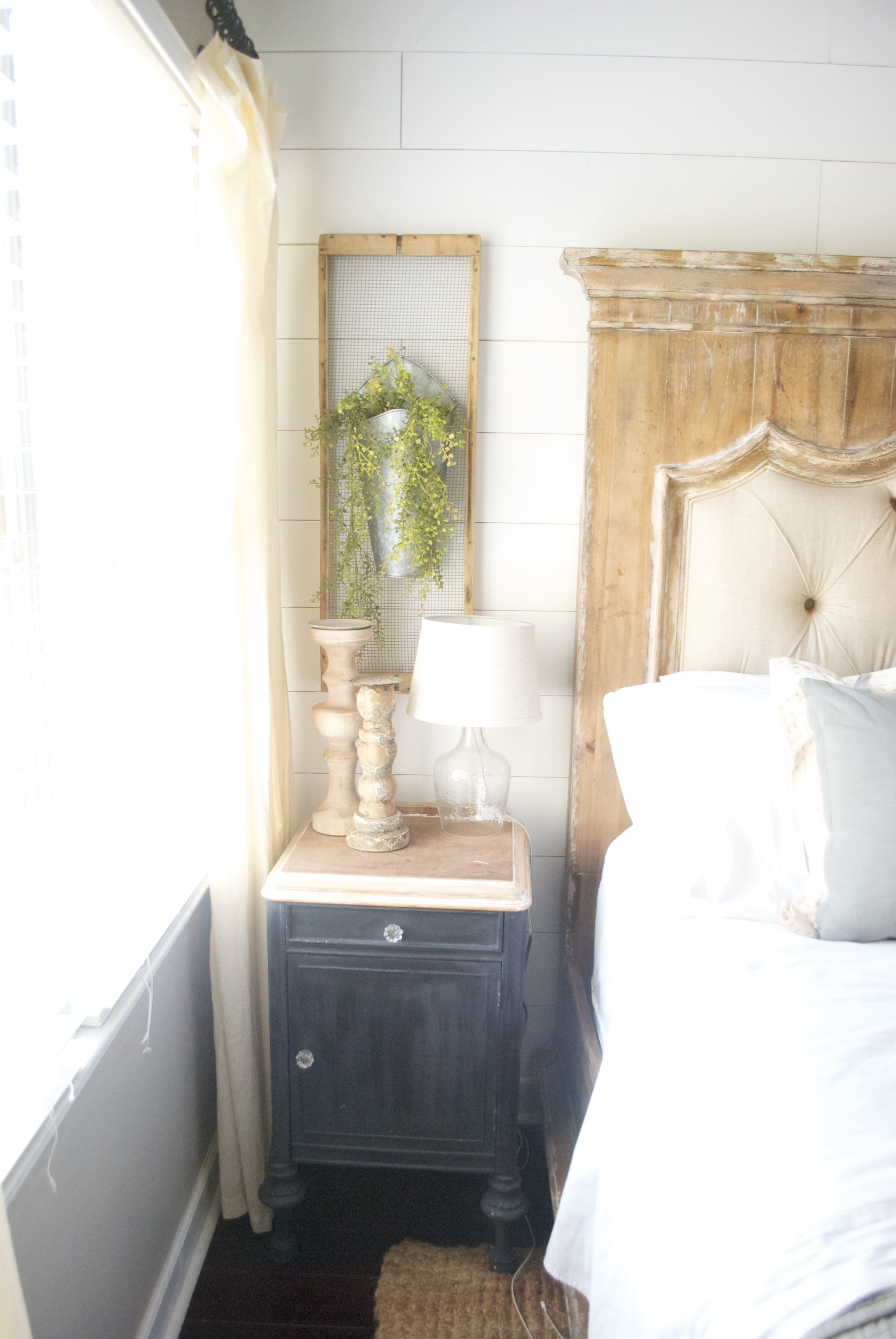 Plum Pretty Decor and Design Farmhouse Master Bedroom Tour- Farmhouse Night Stand with Shiplap Accent Wall