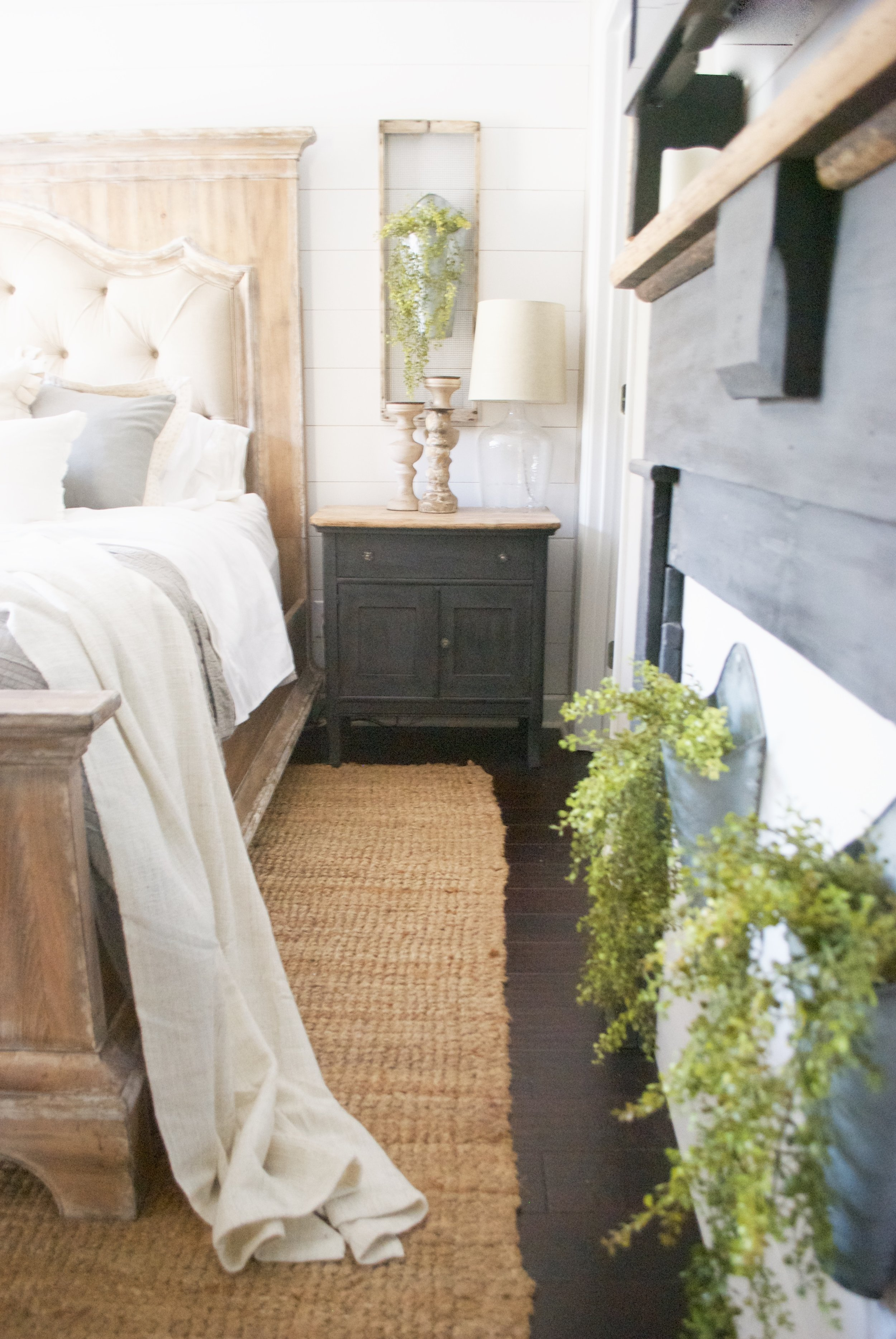 Plum Pretty Decor and Design Farmhouse Master Bedroom Tour- Shiplap, Linen Tufted Bed, Black Nightstands