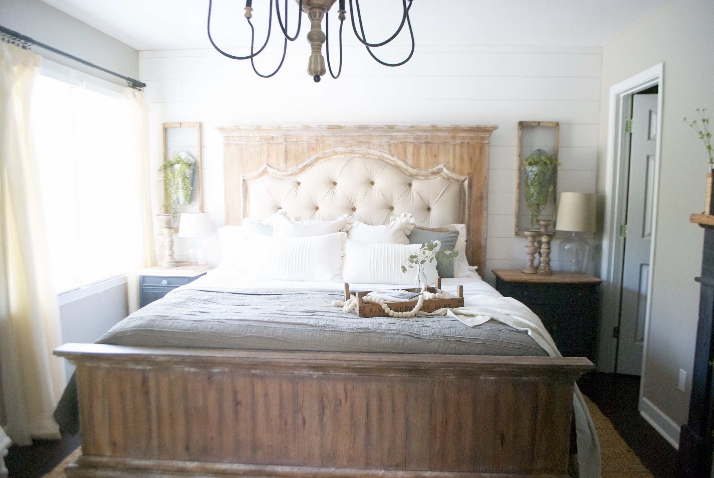 Plum Pretty Decor and Design Farmhouse Master Bedroom Tour- Farmhouse Inspired Master Bedroom