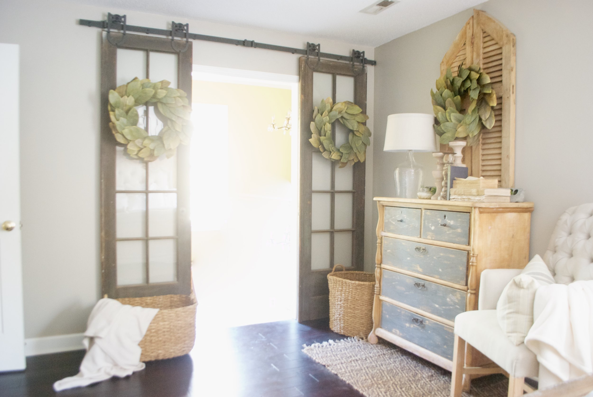 Plum Pretty Decor and Design Farmhouse Master Bedroom Tour- French Doors on Barn Door Hardware