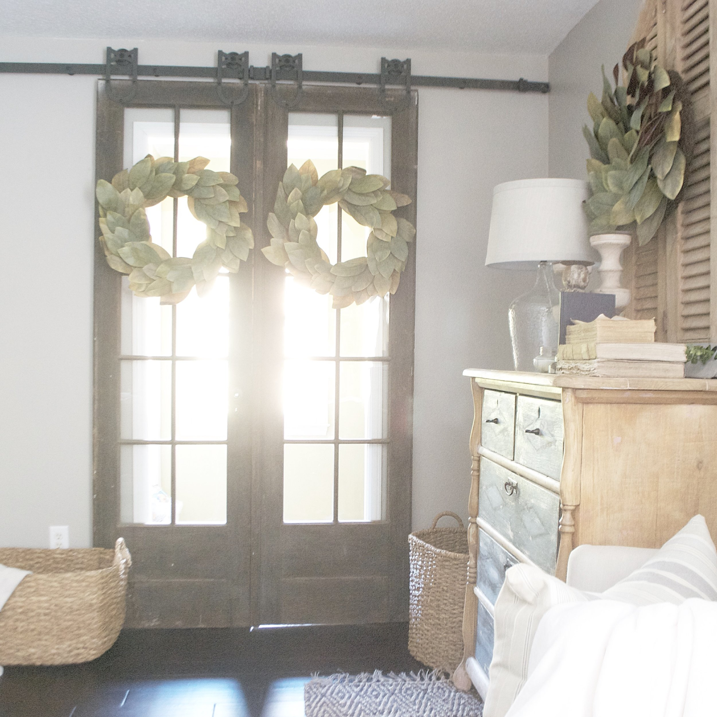 Plum Pretty Decor and Design Farmhouse Master Bedroom Tour- French Doors