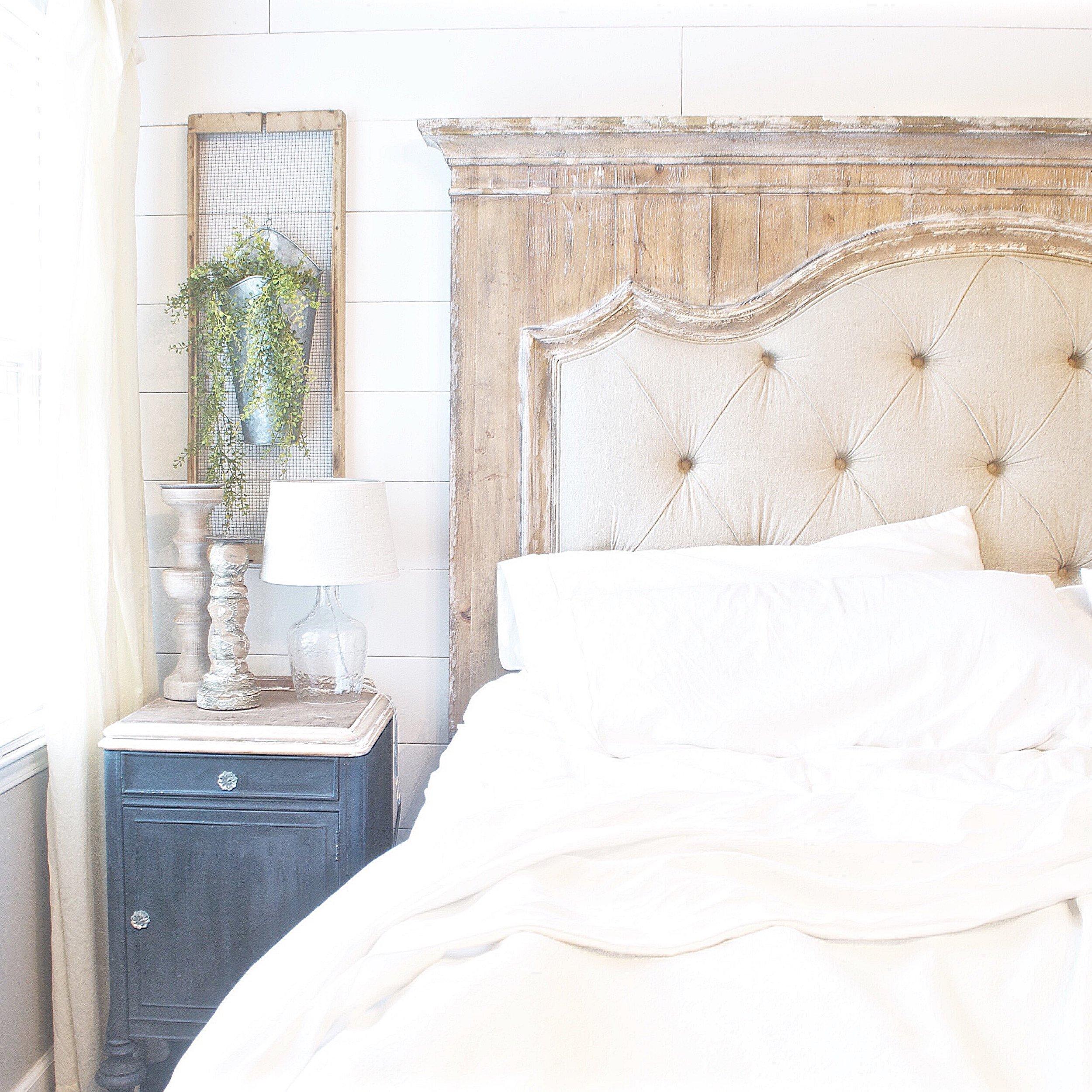 Plum Pretty Decor and Design Farmhouse Master Bedroom Tour- Bedding