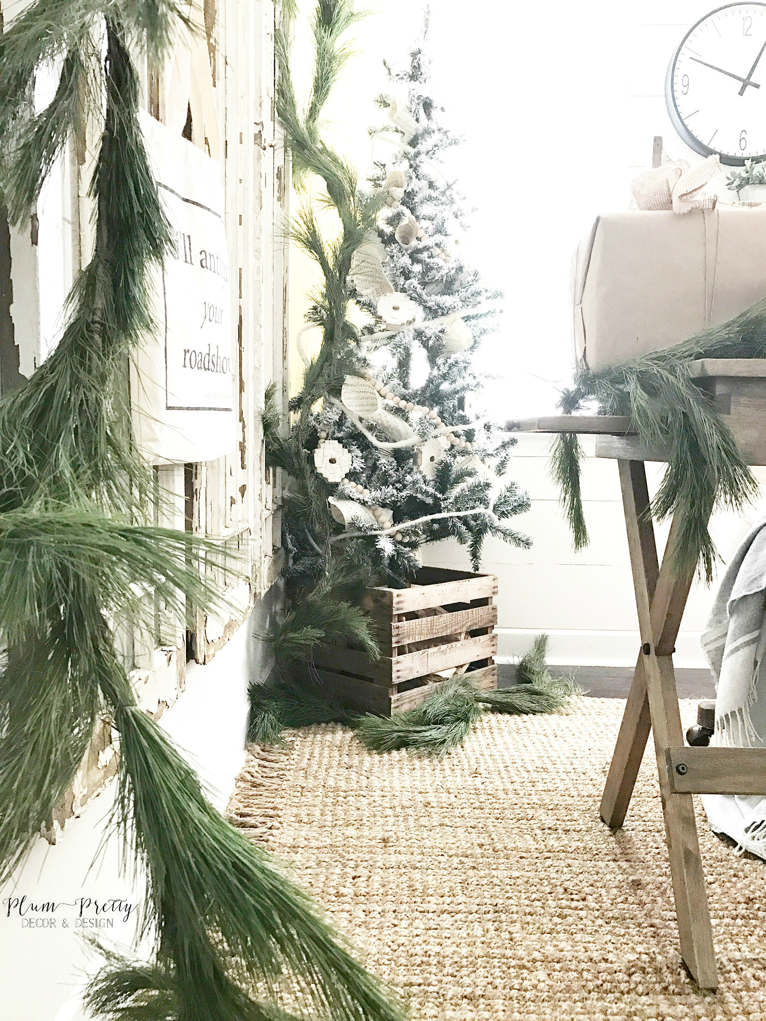 Farmhouse Office with Fresh Garland and Christmas Tree- Plum Pretty Decor and Design