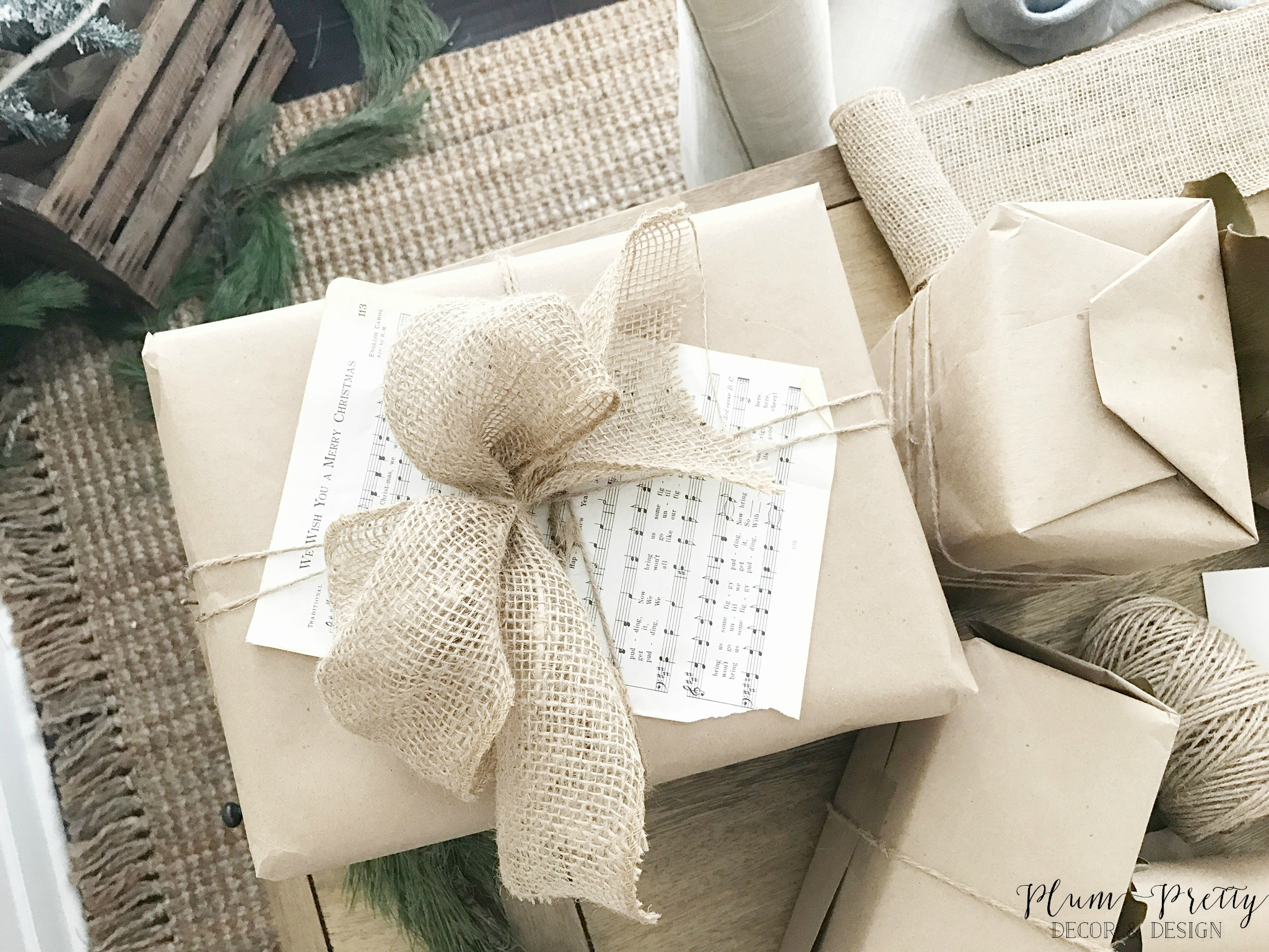 Neutral Christmas Wrapping Paper with Music Sheet and Burlap Bow- Plum Pretty Decor and Design