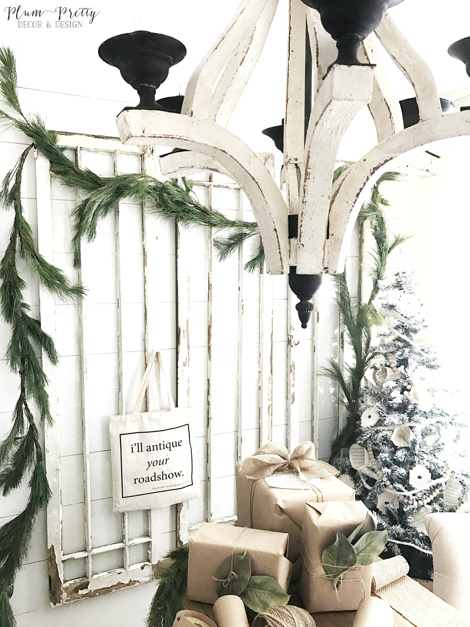 Farmhouse Office Decorated for Christmas. White Chippy Farmhouse Chandelier- Plum Pretty Decor and Design
