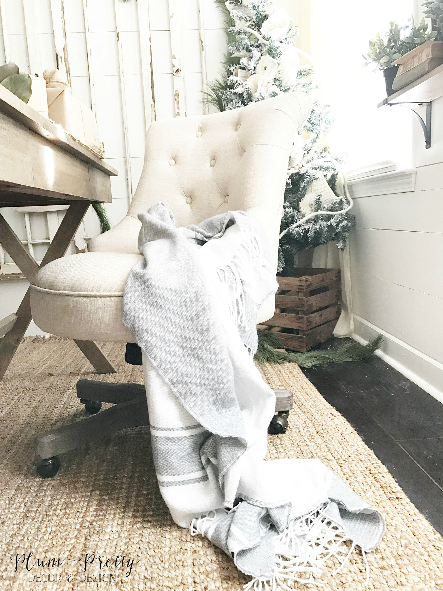 Tufted Office Chair in a Farmhouse Style Office- Plum Pretty Decor and Design